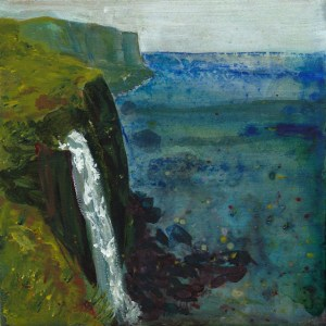 © 2015 Eleanore Ditchburn, Kilt Rock Skye, Acrylic on Gessobord 10 x 10 cm