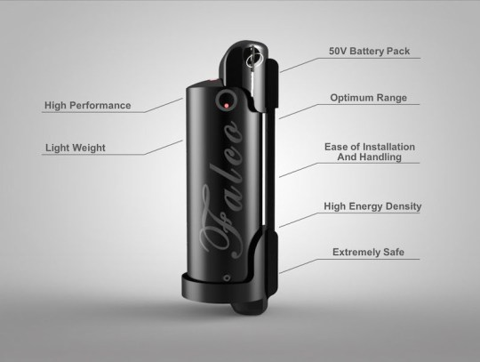 Falco Fusion 50V Lithium Battery Pack Side View