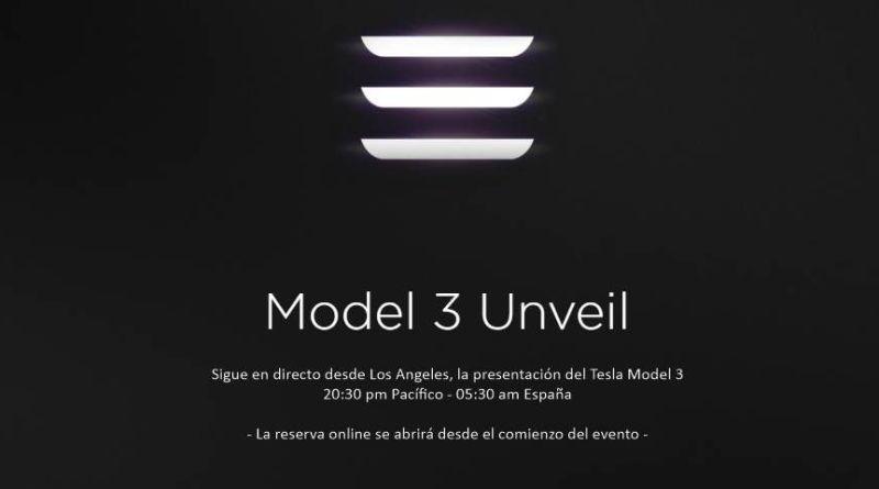 Sigue en directo la presentación del Tesla Model 3. Streaming Tesla Model 3 Unveil.