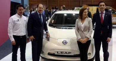 110 taxis eléctricos Nissan LEAF para Madrid. Ciudad del Taxi de Madrid. Taxi eléctrico
