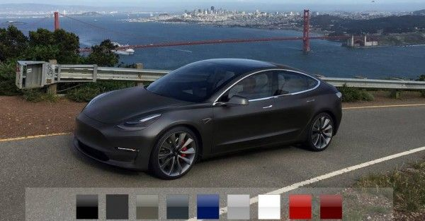 Configura el Tesla Model 3. Tesla configurator Model 3. Colores disponibles Tesla Model 3.