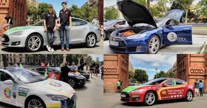 80eDays vuelta al mundo en vehículo eléctrico comienza en Barcelona. Tesla Model S participantes en la vuelta al mundo en coche eléctrico desde Barcelona