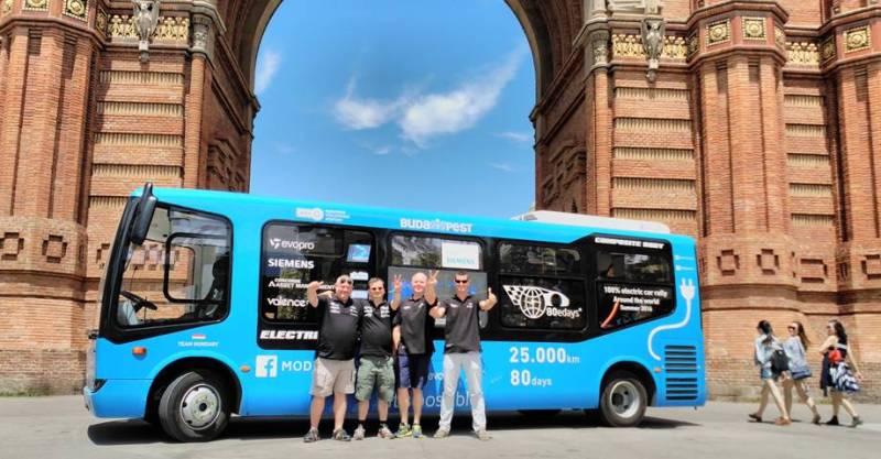 80eDays vuelta al mundo en vehículo eléctrico comienza en Barcelona. Autobús eléctrico en Barcelona