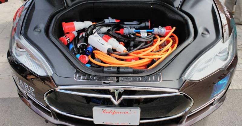 80eDays vuelta al mundo en vehículo eléctrico comienza en Barcelona. Conectores para recargar Tesla Model S