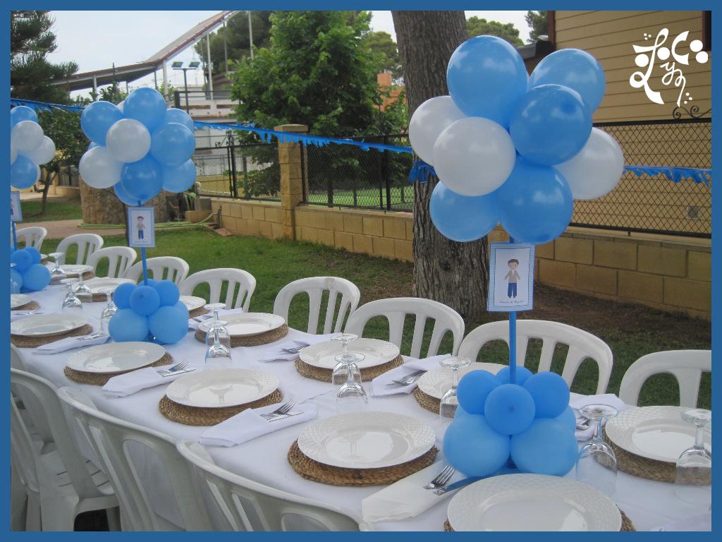 Decoracion con globos primera comuni n eleyce - Centros de mesa para comunion de nino ...