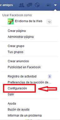 accede a Configuración Facebook
