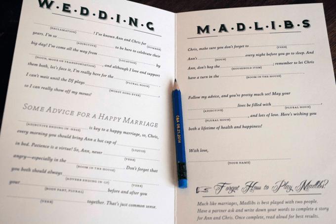Custom wedding Madlibs booklet