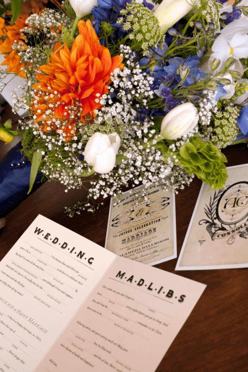 Wedding invitation and reception activity booklet