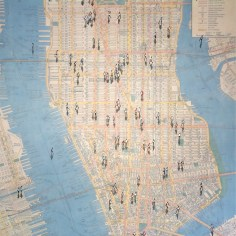 """Shadows on Vintage New York Housenumber map"" mixed media on canvas 130 x 90 cm (50"" x 36"")"