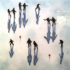 """""""Shadows Central Park -on Ice II Mixed media on wood with resin 50 x 50 cm (20"""" x 20"""")"""
