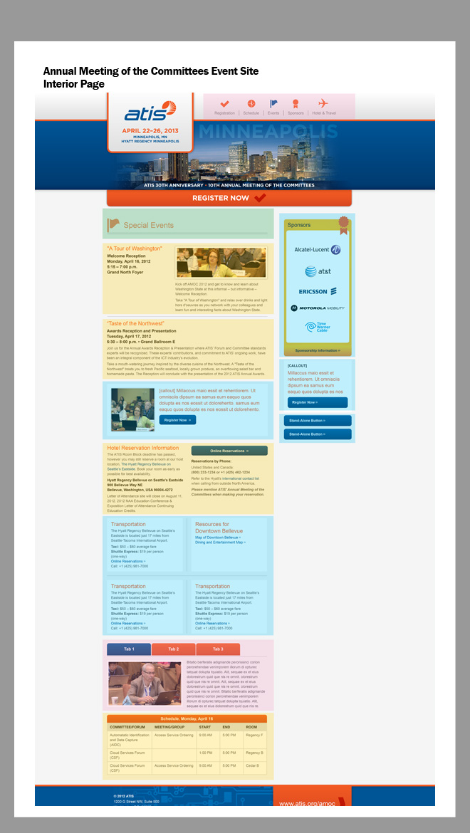 Image of the layout originally created by the designer for the interior page example. Translucent boxes highlight information modules that are grouped by function (navigation, side column, internal information links, and external information links).