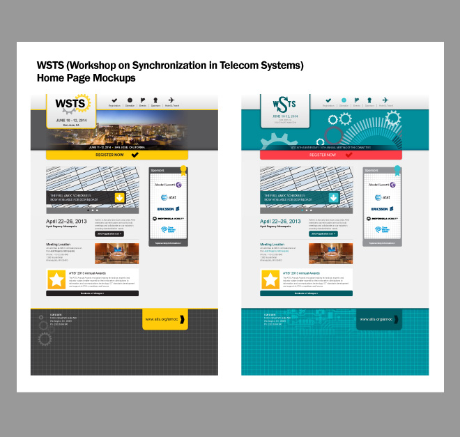Mockups of the home page of the website using the two color schemes presented in the branding document.
