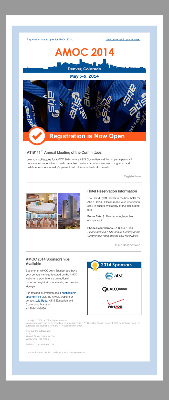 Image of Email: Header is a blue outline of the city of Denver; Main image is a pile of blue lanyards with ATIS logo printed repeatedly; H1 Reads: Registration is Now Open; H2 Reads: ATIS' 11th Annual Meeting