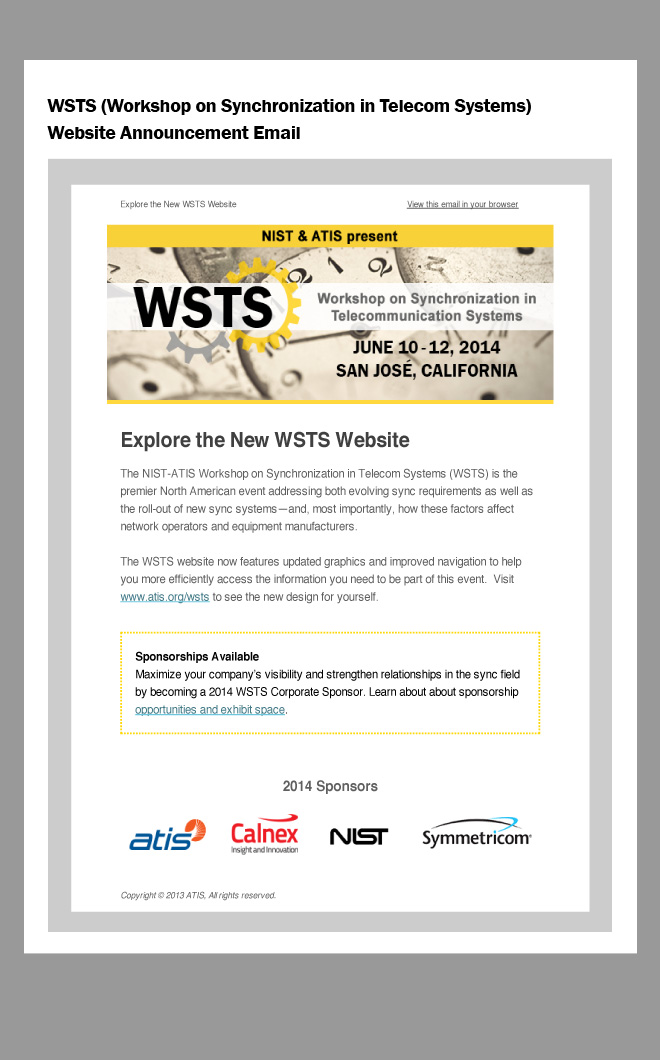 Image of email: header has yellow border with antique clock background, text reads NIST ATIS Workshop on Synchronization in Telecommunications Systems June 10-12, San Jose California. H1: Explore the New WSTS Website. Yellow box at the bottom of the email advertises sponsors of the event.