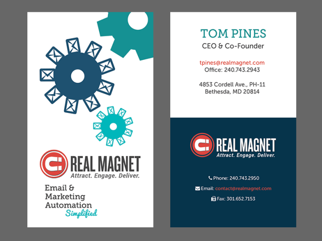 Marketing Automation branded business cards. This design features light background and a vertical layout.