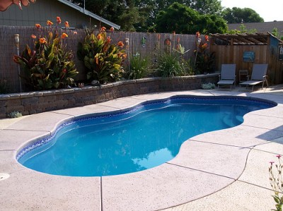 Fiberglass pool in Toronto backyrad