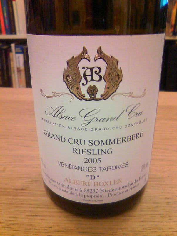 Riesling Grand Cru Sommerberg Vendanges Tardives 'D' 2005, Albert Boxler
