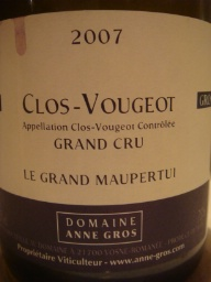 Clos Vougeot Le Grand Maupertui, Domaine Anne Gros