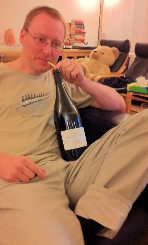 Dan drinks a magnum of quality Morgon with the aid of a straw