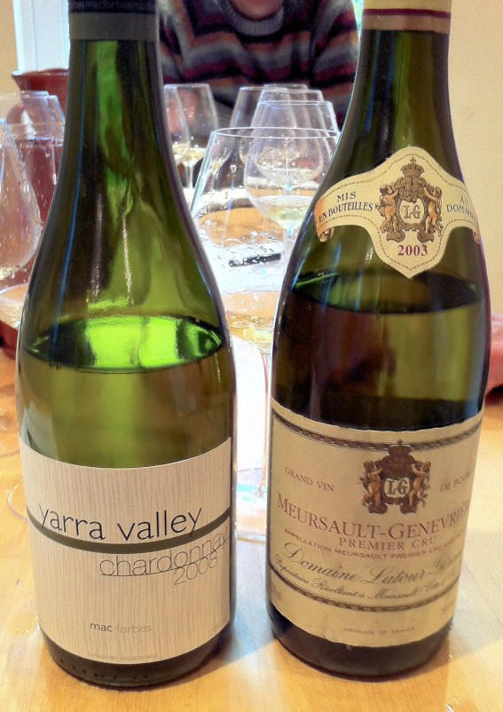 A delightful Mac Forbes Chardonnay and another Latour Giraud that is past it