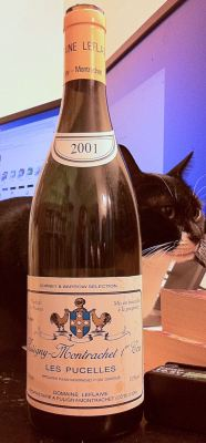 Puligny-Montrachet Premier Cru Pucelles 2001 from Domaine Leflaive and Kisu the cat