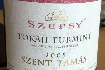 Dry Tokaji Furmint 'Szent Tamas' 2005 from Szepsy