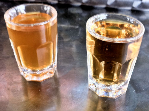 Pickle juice on the left, whiskey on the right