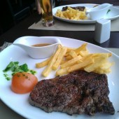 Rib-eye steak and chips