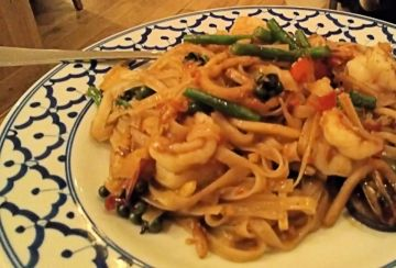 Pad kee mao (spicy noodles) with prawns blew my freaking head off with peppercorns and boggled my mind with brilliance