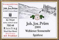 Joh Jos Prum Wehlener Sonnenuhr Spatlese 2001