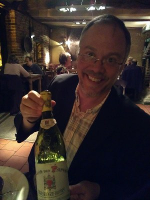 Gordon Coates with Clos des Papes Blanc 1999