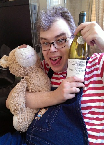 Davy with Toast the teddy and Chablis Vaulorent 2007 from Fevre