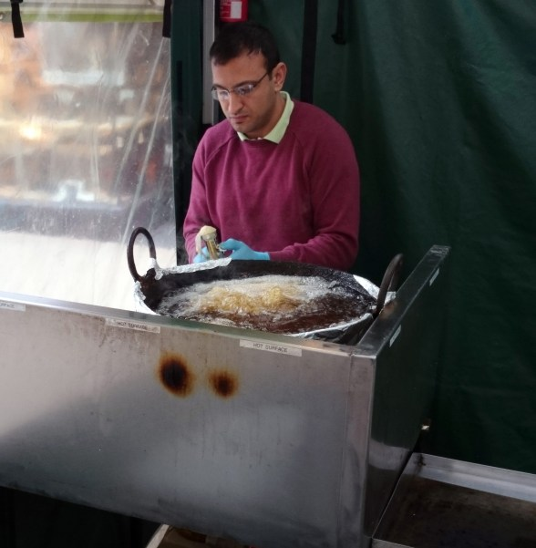 Falafel being prepared