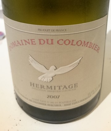 Colombier Hermitage Blanc 2007 label
