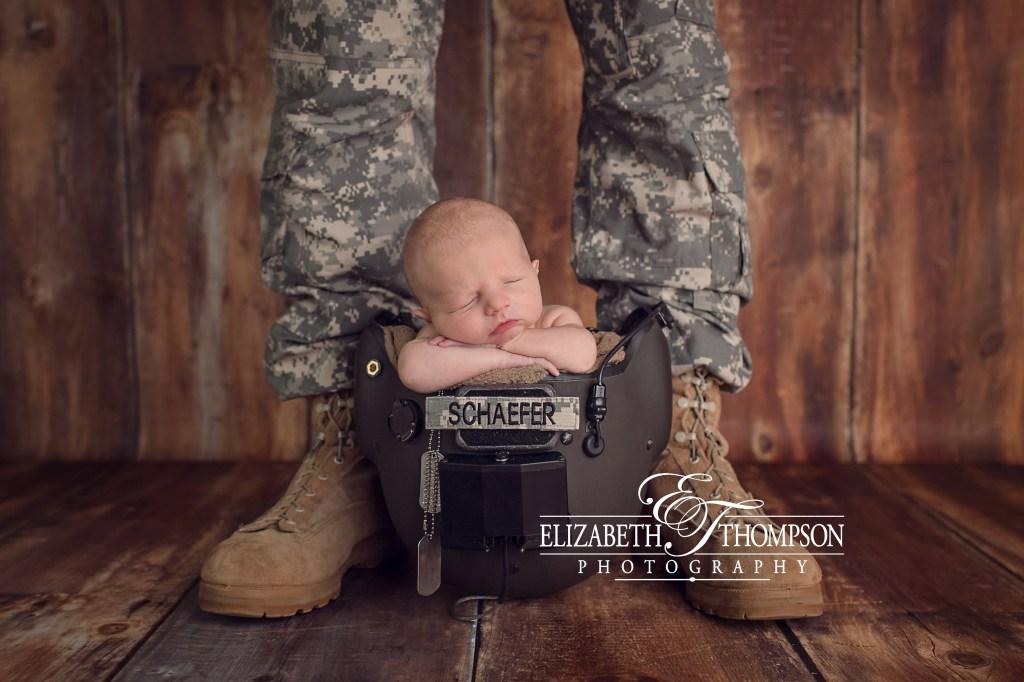 Newborn Military Helmet Daddy Pose, Newborn Photographer Clarksville TN, Elizabeth Thompson Photography#