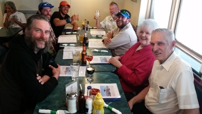 Left to right: Mosely, Bandit, Buttercup, Freefall, Allgood, Carole and Hugo Mumm at the Wow Diner.