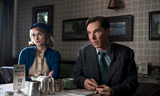 Benedict Cumberbatch as Turing with Keira Knightley as Joan Clarke in The Imitation Game.