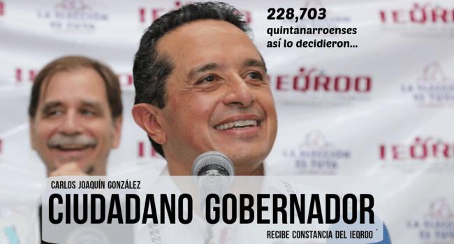 Carlos Joaquín, el hijo desobediente, recibe constancia como gobernador electo