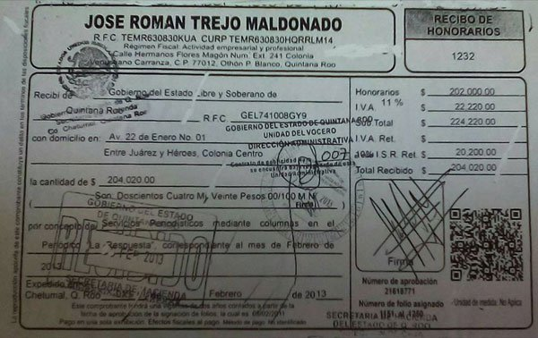 Recibo de cobro de Román Trejo Maldonado en el gobierno del estado