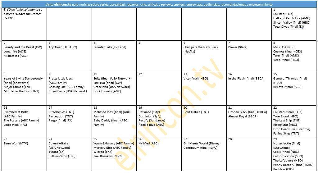 Calendario de series de verano 2014 (junio) - elrincon.tv