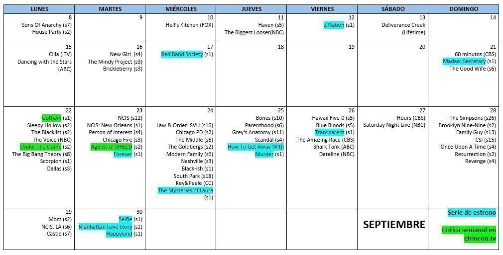 Calendario series USA-UK septiembre 2014