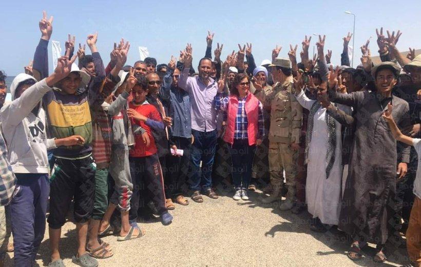 """""""نائب وزير الزراعة"""" و """"محافظ شمال سيناء"""" يفتتحان موسم الصيد بحيرة البردويل."""