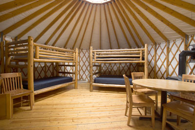 Interior of the Bobcat yurt