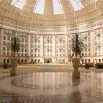 Under the 200-foot dome of the lobby atrium in West Baden Springs Hotel