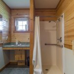 Sink and shower in the Melvern Cabin