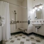 Sink and shower in room 206 at the Majestic Yosemite Hotel
