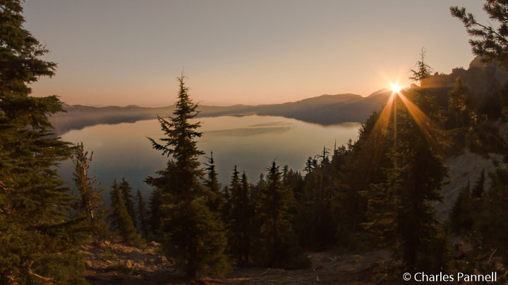 Crater Lake sunrise viewed from the terrace of The Lodge by the Lake