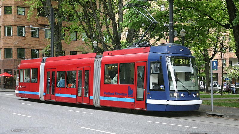 A streetcar at one of the stops serving Portland State University
