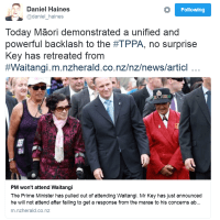 John Key Withdraws from #Waitangi Celebrations After #TPPA Protests