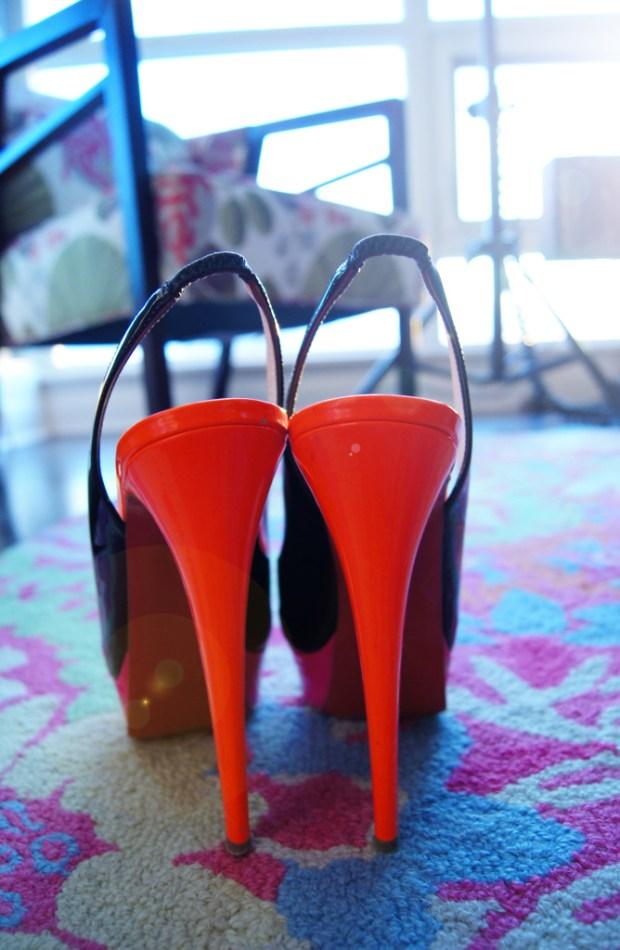 Louboutin Sling Back Neon Heels